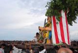 The demon Surapadman approachesLord Subramanyam [Murugan]. Skanda Sashti at Tiruchendur.