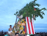 The cock, representing the demon`s spirit, starts the final attack. Skanda Sashti at Tiruchendur.