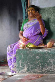 Diviner (with incense sticks) communicating with the Gods. Tirunelveli District, Tamil Nadu.