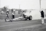 Leroy Goldstein burnout for final round, DIMS IHRA Longhorn Nats, March 1973