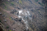 There were pockets of steam all over the crater