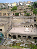The ruins of Herculaneum destroyed by the Vesuvius volcano in AD79