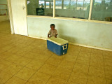 Little boy minding the Eske in the departure lounge at Hagen Airport