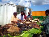 Preparing the food for the Go Finish Mumu feast