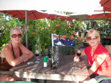 Kaz and Sandi enjoying a glass of wine