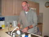 Mark doing the dishes - good boy!!