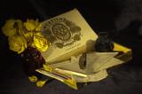 Cigar Box, Letters, Pen, Ink, Roses