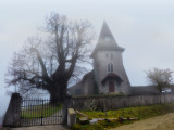 The old little church in the fog