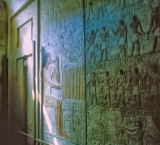 Wall of tomb depicting servants, possessions, and occupations of the deceased - false door is visible on left