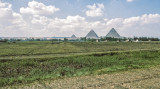 Pyramids from Nile Valley on way back to Cairo
