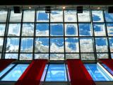 Mosaique de verre sur toit de neige