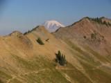 Mount Rainier peaks over Hogback ridge