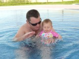 First swim with Daddy