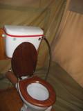 Tent camp flushing toilet