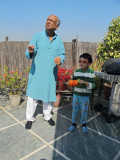 Flying a kite on the terrace with Nanu