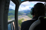 Looking (east) up the Toutle River valley from the heli