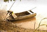 The aluminum boat we used to cross the river