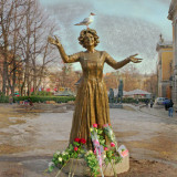 The actress Wenche Foss. (December 5th 1917 - March 28th 2011.) Statue by the National Theater