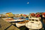 Protected harbour and Grebbestad Båt och Motor (rear left) - Havstensund (on the Swedish west-coast)