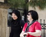 Sweet Moslem Girl walking down the main street of Zichron Yaakov