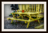 Old Yellow Picnic Table