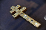 Double Cross, gilded copper on wood with precious stones