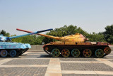 A pair of Soviet tanks in front of the Great Patriotic War Museum