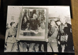 Historic Photograph - German soldiers with a captured portrait of Stalin