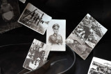 Historic photos of a German officer and civilian victims of the camps