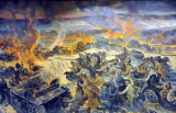 Mural - Battle of Kiev - Surrendering German soldiers and burning Panzers