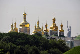 Golden towers of Kyiv Pechersk Lavra with the Motherland Monument