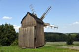 This old wooden windmill at the museum entrance is one of over 300 buildings preserved here