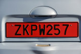 Rental cars in Cyprus are clearly identifiable with these red license plates