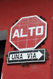 Cute tile stop and one way signs, Antigua Guatemala