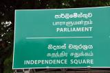 Colombo Road Sign - Parliament & Independence Square