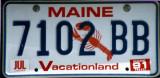 Maine License Plate (1991)
