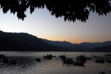 Dusk, Lake Phewa, Pokhara, from Hotel Fewa