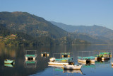 Various types of boats on Lake Phewa, Pokhara