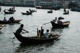 ...and endless line of sampans ferrying across the Buriganga, Dhaka