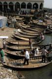 Sampans pulled up along the riverbank, Old Dhaka