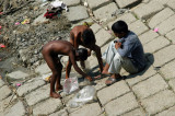 Naked boys along the river, Sader Ghat, Dhaka