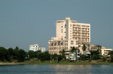 Large industrial buildings on R810 along the river in Dhaka-Shaympur