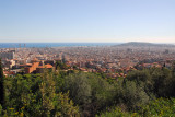 View over the giant city of Barcelona from the top of Güell Park