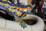 The multicolored tile mosaic dragon (salamander) on the main staircase leading to the terrace of  Güell Park