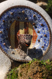 Another tile mosaic (trencadís) figure said to be a serpent's head, Güell Park
