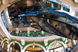 QVB reflection in escalator