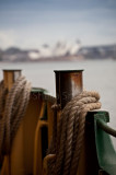 Manly ferry bollards and Sydney Opera House backdrop