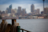 Manly ferry bollards with Sydney backdrop