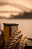 Manly ferry bollard and Sydney Harbour Bridge