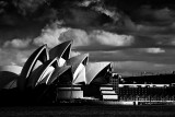 Sydney Opera House sunlit in mono